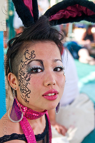 japanese bunny - elin kawa, asian woman, bunny ears, burning man, center camp, people, rabbit ears