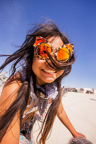 japanese girl with tiger mirror sunglasses - burning man 2015, burning man, mirror sunglasses, nicole, tiger sunglasses, woman
