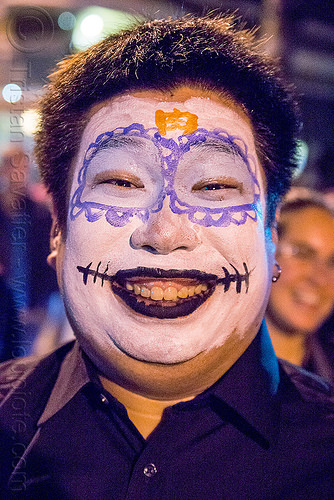 japanese man with sugar skull makeup - dia de los muertos, day of the dead, dia de los muertos, face painting, facepaint, halloween, japanese, man, night, sugar skull makeup