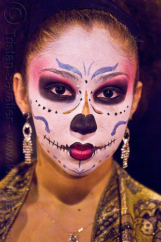 japanese style skull face paint - dia de los muertos - halloween (san francisco), day of the dead, dia de los muertos, face painting, facepaint, halloween, makeup, night, woman