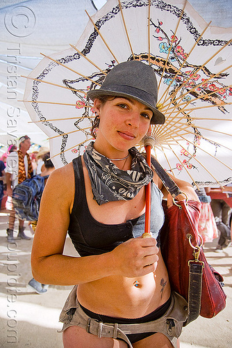 japanese umbrella - talia, bandana, burning man, hat, japanese umbrella, leather belt, talia, woman
