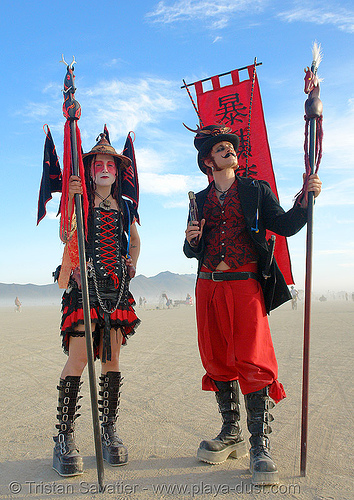 japanese warriors - burning-man 2006, art, burning man, couple, four horsemen, woman
