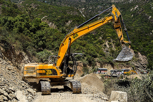 JCB JS200 excavator (india), at work, excavator, heavy equipment, hydraulic, jcb, js200, js200hd, landslide, machinery, road construction, roadwork, working