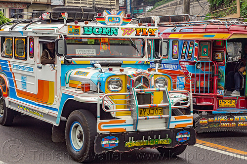 jeepney - born to fly (philippines), baguio, colorful, decorated, front grill, jeepney, painted, philippines, road, truck