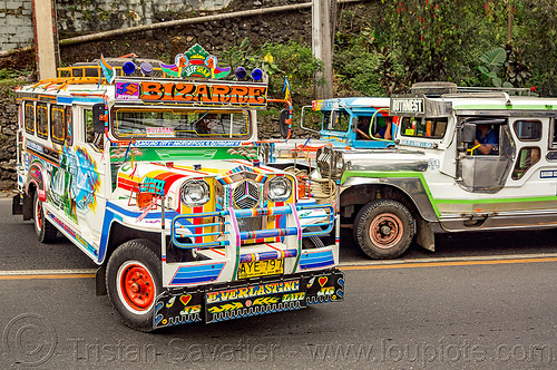 jeepney doing U-turn (philippines), baguio, colorful, decorated, jeepney, painted, philippines, road, truck