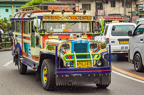 jeepney on road (philippines), baguio, colorful, decorated, front grill, jeepney, painted, philippines, road, truck