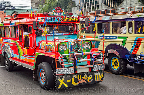 jeepney traffic (philippines), baguio, colorful, decorated, front grill, jeepney, painted, philippines, road, truck