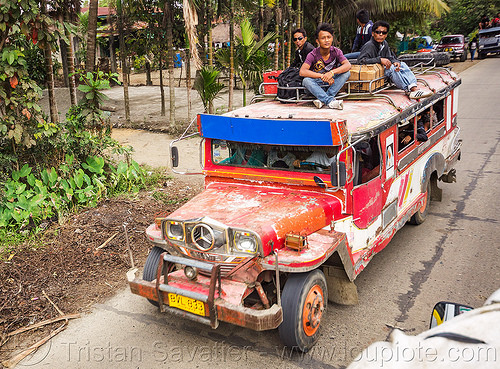 jeepney with passengers on roof (philippines), cordillera, jeepney, passengers, philippines, public transportation, red, road, roof, sitting