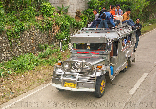 jeepney with passengers on roof  (philippines), cordillera, jeepney, passengers, philippines, road, roof, sitting