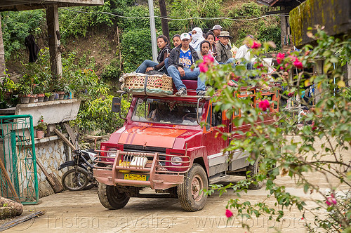 jeepney with passengers on roof (philippines), cordillera, jeepney, passengers, philippines, public transportation, road, roof, sitting