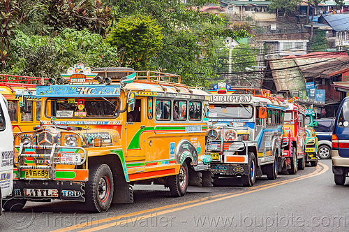 jeepneys in traffic jam (philippines), baguio, colorful, decorated, jeepney, painted, philippines, road, truck