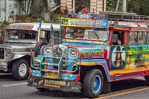 jeepney (philippines), baguio, decorated, jeepney, painted, philippines, public transportation, road, truck