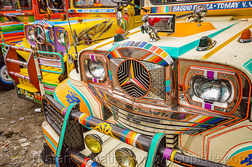 jeepneys parked at station  (philippines), baguio, colorful, decorated, front grill, jeepney, painted, philippines, truck
