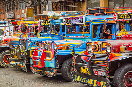 jeepneys parked at station (philippines), baguio, colorful, decorated, jeepney, painted, philippines, truck