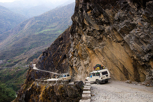 jeeps on mountain dirt road - kali gandaki valley - annapurnas (nepal), 4x4, annapurnas, cars, cliff, dirt road, kali gandaki valley, mountain road, mountains, unpaved