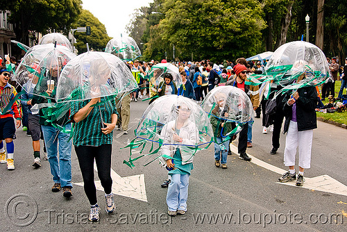 jellyfish costumes, bay to breakers, festival, footrace, jellyfish costumes, street party, transparent umbrellas