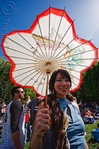 jen with japanese umbrella, people, woman
