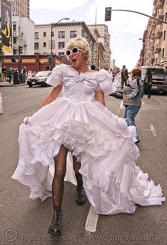 jerry - brides of march (san francisco), drag, festival, man, people, transvestite, wedding, wedding dress, white
