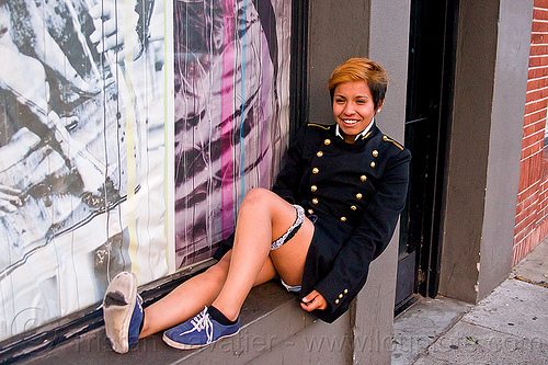 jessica gonzales, army, door, dress uniform, ecole polytechnique, fashion, folsom street fair, garter, grand uniforme, grand-u, gu, jacket, jessica, legs, lingerie, military, red hair, sitting, veste, wall, window, woman