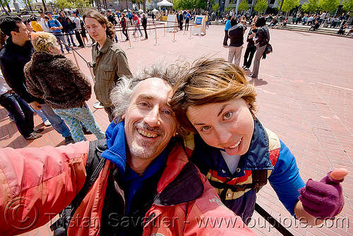 jessika and tristan, embarcadero, jessika, justin herman plaza, man, self portrait, tristan savatier, woman
