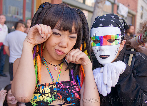 jessikr and white mask with rainbow colors, gay pride, gay pride festival, gloves, people, rainbow mask, white gloves, woman