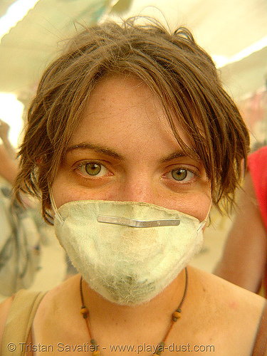 jillian surviving the dust storm in center camp - burning man 2007, burning man, center camp, dust storm, jillian, woman