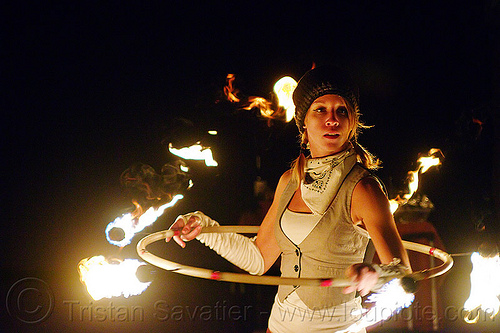 joanna with fire hula hoop, fire dancer, fire dancing, fire hoop, fire performer, fire spinning, hula hooper, hula hooping, hulahoop, joanna, night, white bandana, white bandanna, woman