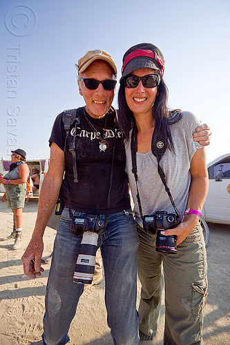 john curley and tracy bugni - burning man 2012, burning man, cameras, couple, john curley, photographers, tracy, woman