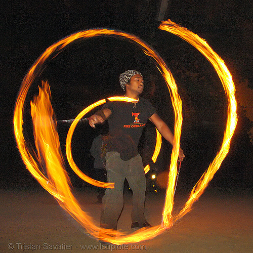 john-paul spinning fire poi (san francisco), fire dancer, fire dancing, fire performer, fire spinning, flames, long exposure, night, people