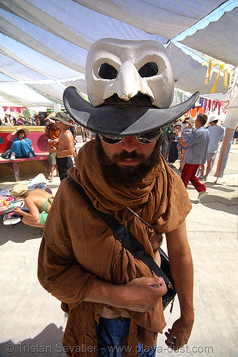 jon - burning man 2007, center camp, hat, mask, people