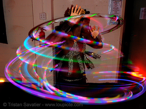 joy spinning a LED hula hoop (san francisco), glowing, hooper, hula hoop, hula hooping, led hoop, led lights, light hoop, night