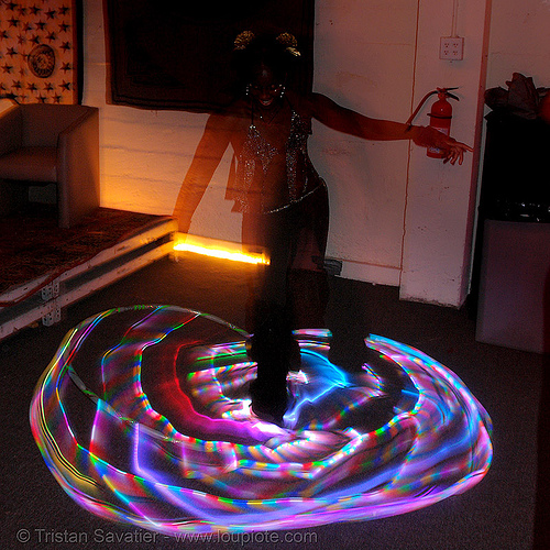joy spinning a LED hula hoop (san francisco), glowing, hula hooping, led hoop, led lights, led-light, light hoop, long exposure, night, people