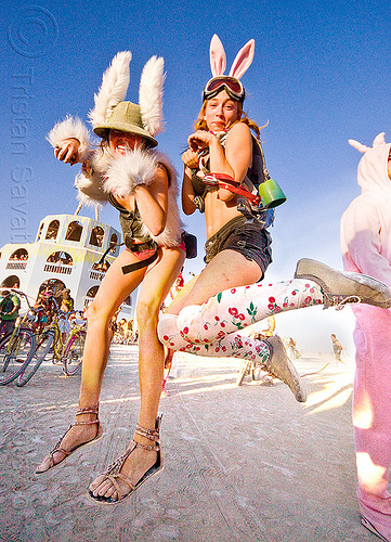 jumping bunnies - burning man 2012, bunnies, bunny march, jump, jumpshot, two, women