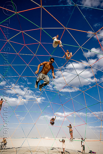 jumping from the top of the darwin dome - geodesic dome - burning man 2009, burning man, darwin dome, falling, geodesic dome, hippie killer, jump, jumper, overkill, tetrion