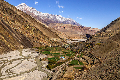 kagbeni village and the kali gandaki river valley - lower mustang (nepal), annapurnas, kagbeni, kali gandaki river, kali gandaki valley, mountains, peak, river bed, snow, village
