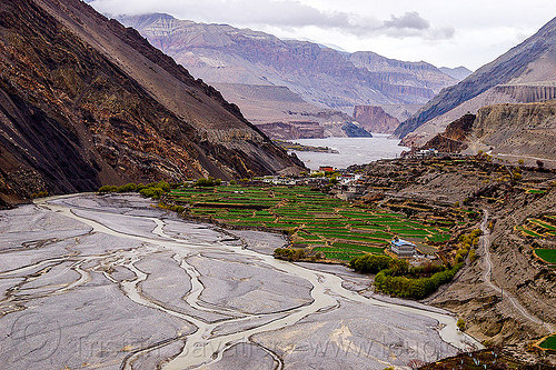 kagbeni village - kali gandaki valley - himalayas (nepal), annapurnas, kagbeni, kali gandaki river, kali gandaki valley, mountains, river bed, village, water