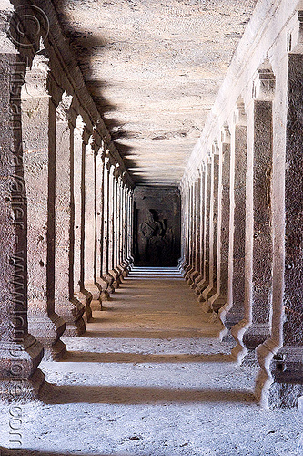 kailash temple - corridor - monolithic hindu temple - ellora caves (india), columns, ellora caves, hindu temple, hinduism, india, kailash temple, monolithic, rock-cut, vanishing point, कैलास मन्दिर