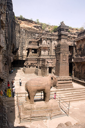 kailash temple - elephant - ellora caves (india), ellora caves, hindu temple, hinduism, india, kailash temple, monolithic, rock-cut, sculpture, statue, stone elephant, कैलास मन्दिर