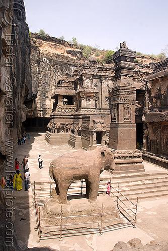 kailash temple - elephant - ellora caves (india), ellora caves, hindu temple, hinduism, kailasa temple, kailasanatha temple, kailash temple, kailashnath temple, kailashnatha temple, monolithic, rock-cut, sculpture, statue, stone elephant, कैलास मन्दिर