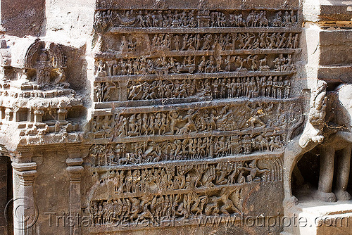 kailash temple - monolithic hindu temple - ellora caves (india), ellora caves, high-relief, hindu temple, hinduism, india, kailash temple, monolithic, rock-cut, sculpture, कैलास मन्दिर