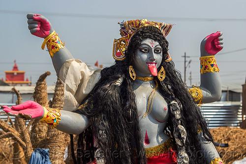 kali - hindu goddess (india), deity, goddess, hindu, hinduism, kali maa, kumbha mela, maha kumbh mela, sculpture, skull necklace, skulls necklace, statue, sticking out tongue, sticking tongue out