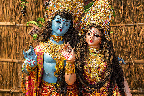 kali - statues of hindu deities (india), blue, deities, god, goddess, hindu, hinduism, kali, kumbha mela, maha kumbh mela, sculpture, statue, teo