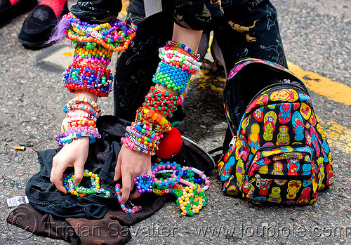 kandi kid - bronwynn (san francisco), beads, bracelets, bronwynn, clothing, fashion, how weird festival, kandi cuffs, kandi kid, kandi raver, plur, woman, wrists