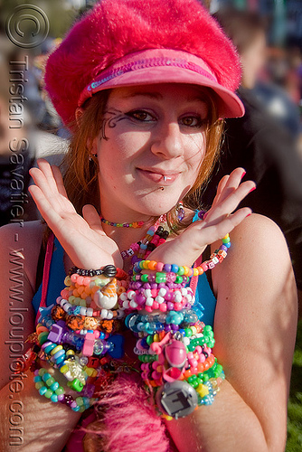 kandi kid girl with bracelets (cuffs), beads, clothing, fashion, fuzzy hat, kandi bracelets, kandi cuffs, kandi kid, kandi raver, lovevolution, raver outfits, sara, woman