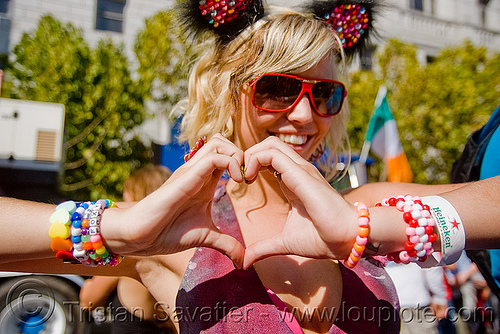 kandi kid making heart sign - hand love sign, festival, foxy, heart, kandi kid, kandi raver, love fest, lovevolution, plur, sunglasses, woman