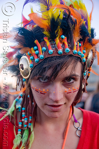 kandi kid ramzee with indian head dress - lovevolution - lovefest (san francisco), beads, clothing, fashion, festival, head-dress, kandi raver, love fest, people, plur, woman