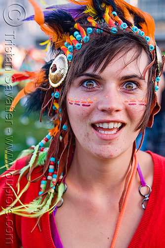 kandi kid ramzee with indian head dress - lovevolution - lovefest (san francisco), beads, clothing, fashion, festival, head-dress, indian, kandi kid, kandi raver, love fest, lovevolution, people, plur, ramzee, woman