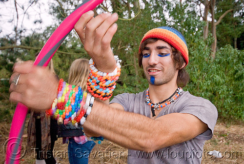 kandi kid with hula hoop, beads, bracelets, clothing, fashion, hands, kandi kid, kandi raver, man, party, plur