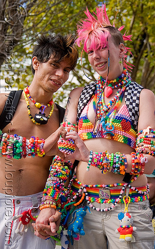 kandi kids - couple, beads, clothing, fashion, festival, finger heart, guy, heart sign, kandi bracelets, kandi cuffs, kandi kid, kandi raver, love fest, lovevolution, man, pink mohawk, plur, raver outfits, woman