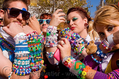kandi kids showing their bead bracelets (kandi), beads, clothing, fashion, kandi cuffs, kandi kids, kandi ravers, lovevolution, man, women